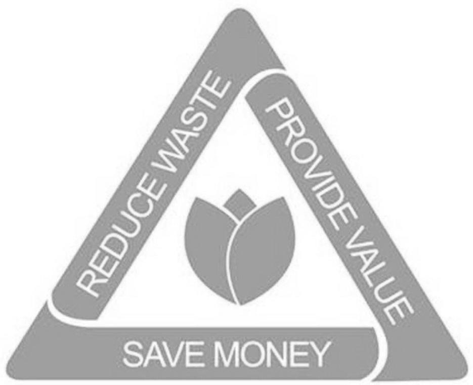Trademark Logo REDUCE WASTE PROVIDE VALUE SAVE MONEY