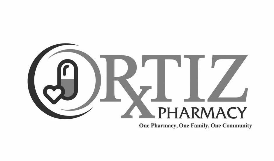 Trademark Logo ORTIZ PHARMACY ONE PHARMACY, ONE FAMILY, ONE COMMUNITY