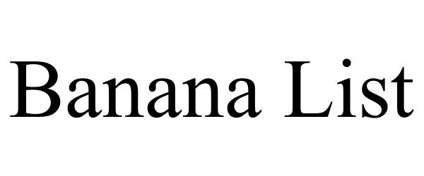 Trademark Logo BANANA LIST