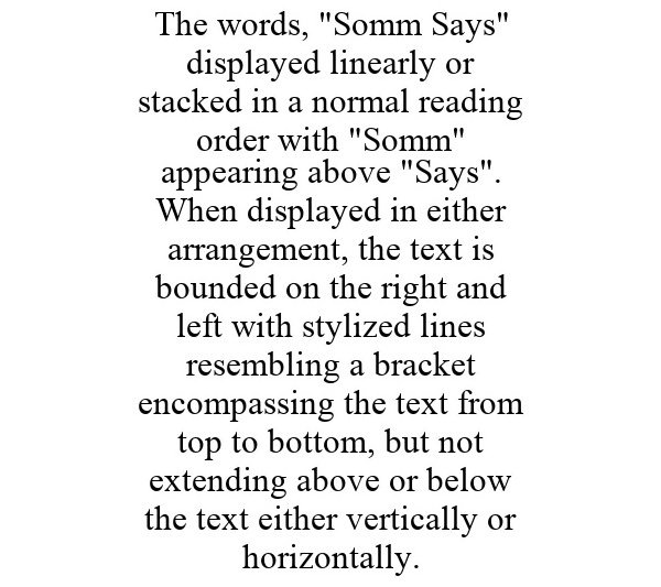 "Trademark Logo THE WORDS, ""SOMM SAYS"" DISPLAYED LINEARLY OR STACKED IN A NORMAL READING ORDER WITH ""SOMM"" APPEARING ABOVE ""SAYS"". WHEN DISPLAYED IN EITHER ARRANGEMENT, THE TEXT IS BOUNDED ON THE RIGHT AND LEFT WITH STYLIZED LINES RESEMBLING A BRACKET ENCOMPASSING THE TEXT FROM TOP TO BOTTOM, BUT NOT EXTENDING ABOVE OR BELOW THE TEXT EITHER VERTICALLY OR HORIZONTALLY."
